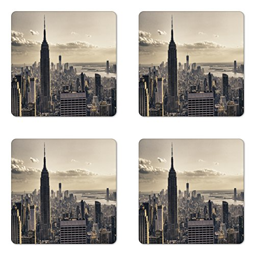 Ambesonne New York Coaster Set of 4, Aerial View of NYC in Winter American Architecture Historical Popular Metropolis, Square Hardboard Gloss Coasters for Drinks, Beige Grey