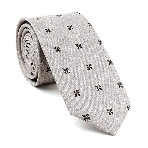 New Classic Man's Cotton Flowers Neck Tie Vintage Wedding Necktie Narrow Slim Tie Grey