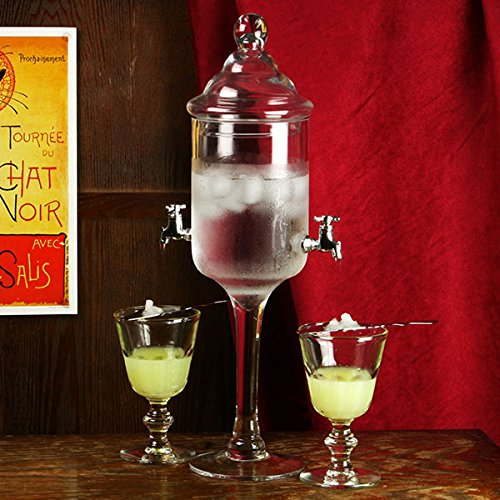bar@drinkstuff Glass Absinthe Fountain - 1.2ltr Absinthe Fountain for Preparing and Serving Absinthe