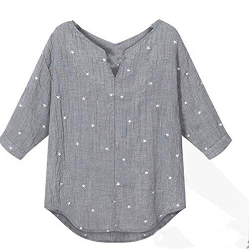 ZANZEA Womens 3/4 Sleeve V-Neck Loose Star Dot Printing Tee Tops Blouse Shirts