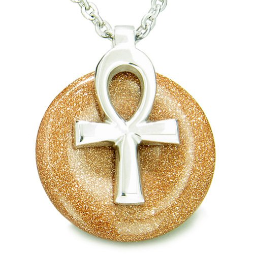 All Powers of Life Ankh Magic Amulet Goldstone Lucky Donut Pendant 22 Inch Necklace