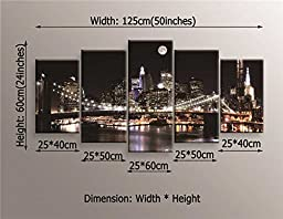Sweety Decor Brooklyn Bridge Photo Prints on Canvas with Moon Night City Scene for Home and Office Wall Decoration (Wood Framed)