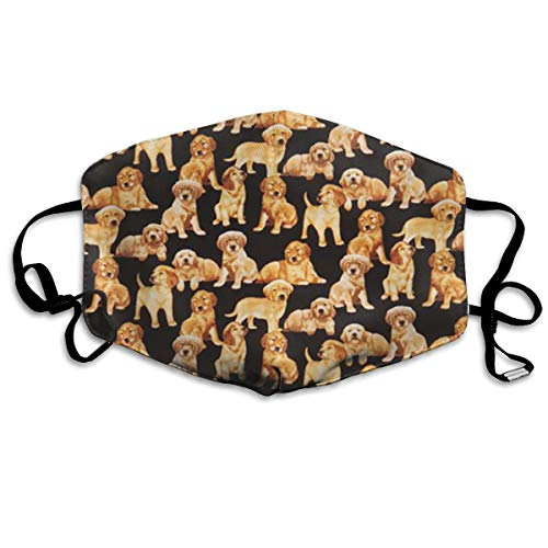 SGHGSAxbh Black Golden Retriever Dog Puppy Face Mask Dust Mask Anti Pollution Face Mask Washable Cotton Mouth Mask Men and Women for All Ages