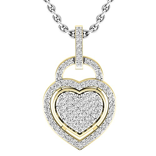 Dazzlingrock Collection 0.24 Carat (ctw) 14K Round Diamond Ladies Heart Pendant 1/4 CT (Silver Chain Included), Yellow Gold