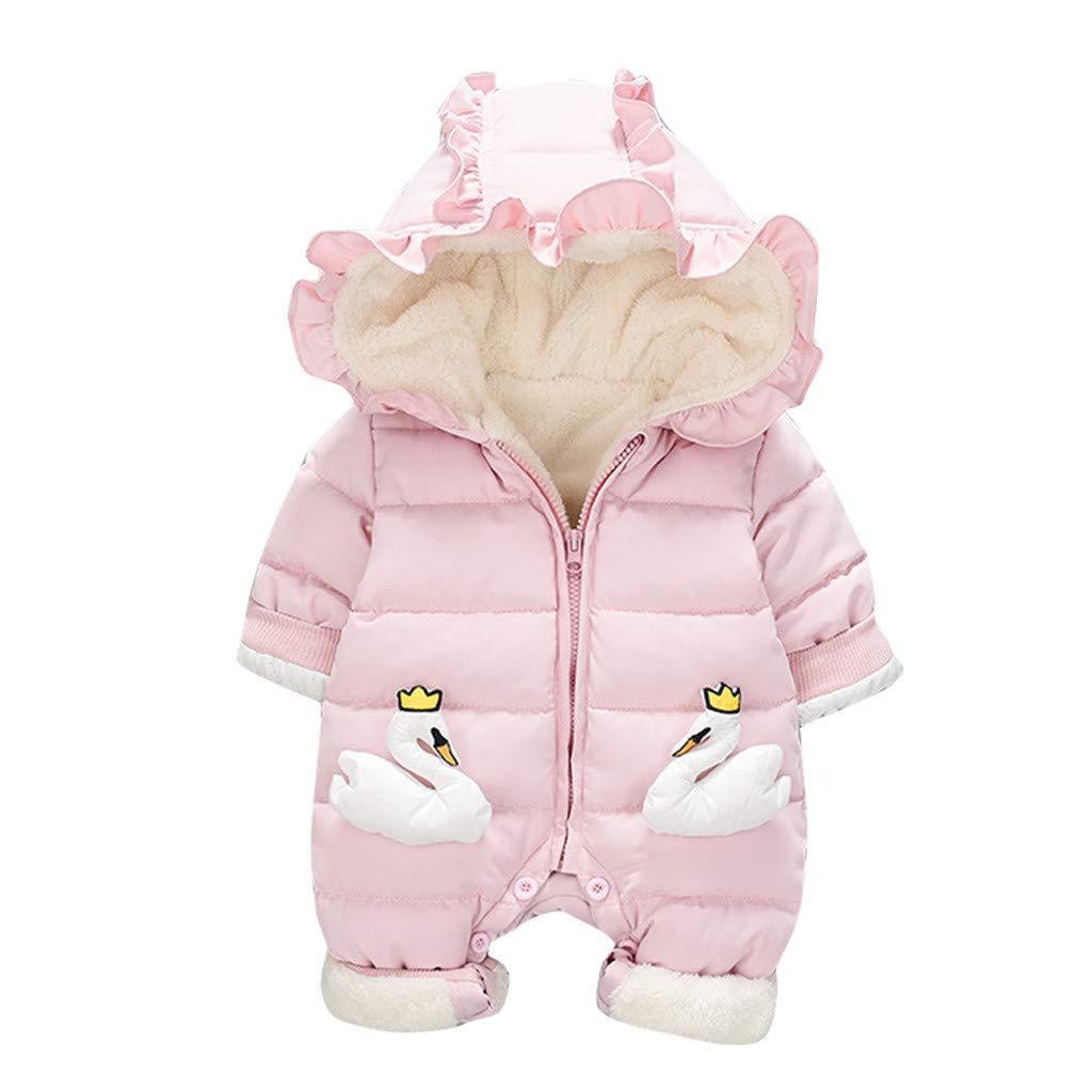 BFYOU Newborn Baby Kids Girls Cartoon Winter Warm Romper Jumpsuit Hooded Coat Outwear Pink by BFYOU_ Girl Clothing