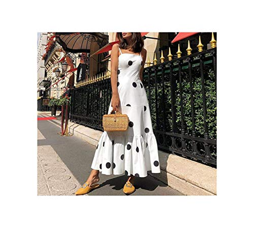 - Women Summer Bohemian Long Dressesparty Night Sexy Club Elegant Dot Casual Plus Size Dress,White,XL