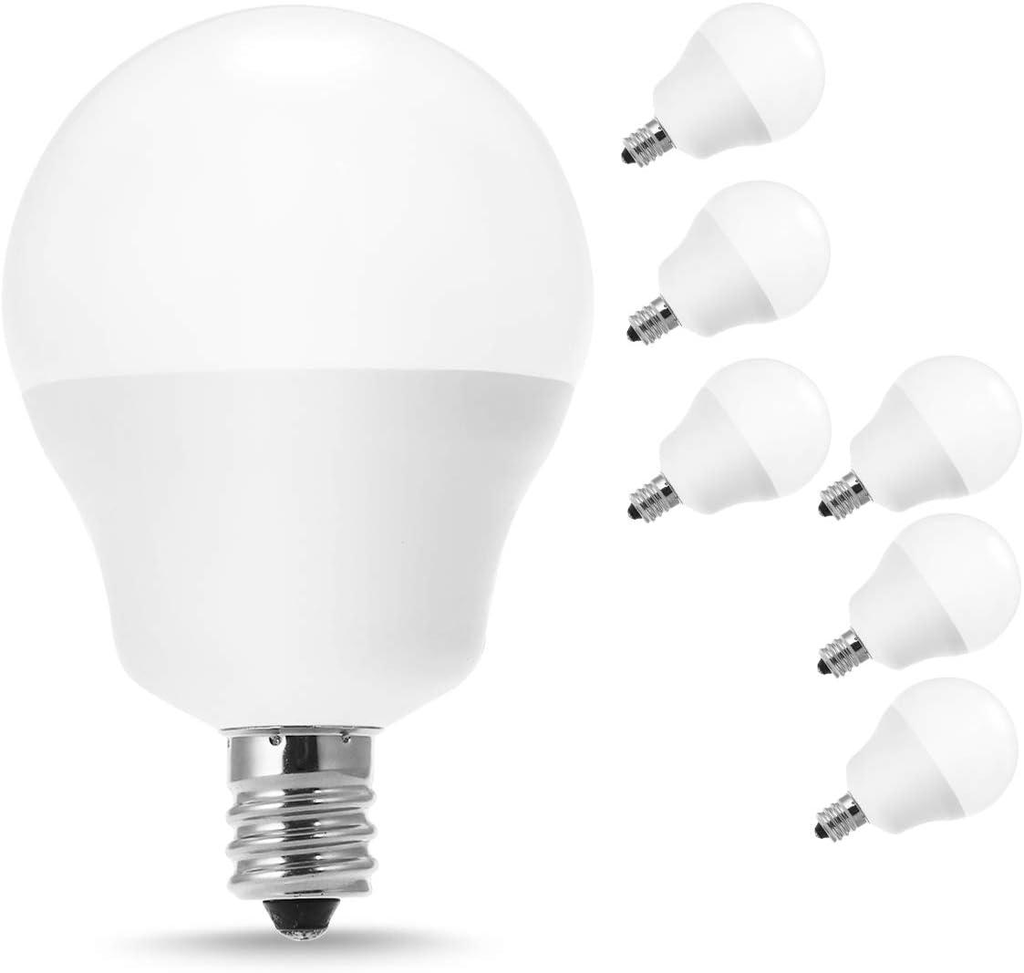 JandCase E12 Candelabra LED Bulb, 40W Equivalent G14 LED Bulbs, Soft White 3000K, 5W Ceiling Fan Light, 450lm, Vanity Mirror Lighting for Bathroom, Living Room, Bedroom, Not Dimmable, Pack of 6