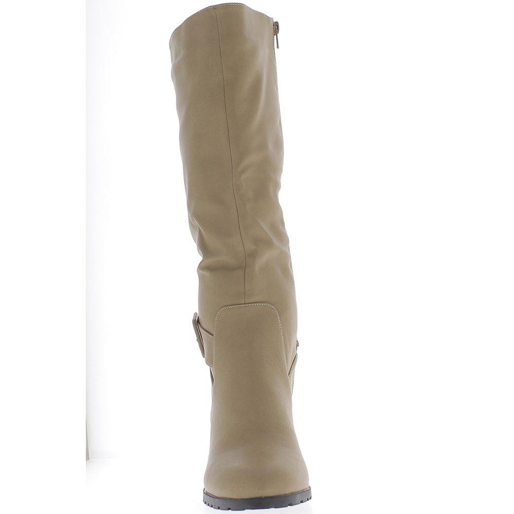 ChaussMoi Botas mujer apodada cuero cuero cuero tamaño grande color beige con tacón de 9 cm de reborde 6dfb80