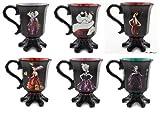 Disney Store Exclusive Designer Villians Mug Set of 6; Queen of Hearts, Maleficent, Ursula, Mother Gothel, Evil Queen, Cruella De Vil Graphic Design