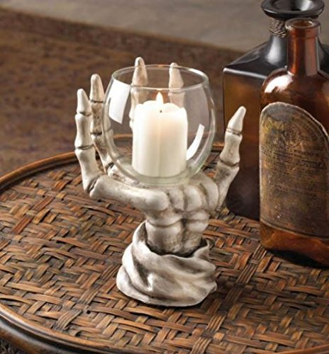 MD Group Skeleton Candle Hand Holder Halloween Decor Candleholder New Night Decorations Home with Glass Candle Cup by MD Group-01-600887