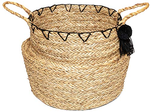 - THESHOPLOCKER 18 Inch Natural Seagrass Big Belly Indoor Plant Basket with Handles and Tassels | Hand Woven and Foldable | (Original)