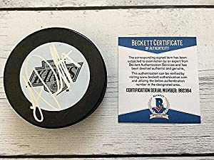 Luc Robitaille Signed LA Kings Throwback Vintage Hockey Puck - Beckett Authentication