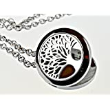 "Tree Of Life Essential Oil Diffuser Necklace Stainless Steel Locket Pendant with 24"" Chain"