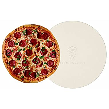 Lorrenzetti 16  Premium Pizza Stone for Baking Pizza in an Oven or BBQ Grill Like a Pro. Heat Retaining and Perfect For Deep Dish or Thin Crust Pizza