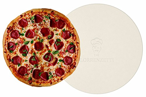 Lorrenzetti 16' Premium Pizza Stone for Baking Pizza in an Oven or BBQ Grill Like a Pro. Heat Retaining and Perfect For Deep Dish or Thin Crust Pizza