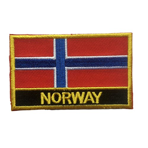Patch Norway Flag (Norway Flag Patch / Sew-On/Iron-On Morale Patches by Backwoods Barnaby (Norwegian Iron-On w/ Words, 2