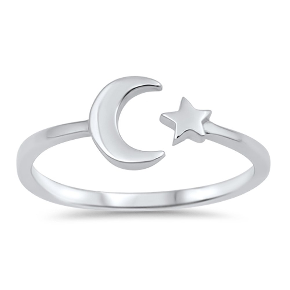 High Polish Open Moon Star Ring New .925 Sterling Silver Simple Band Size 7 by Sac Silver