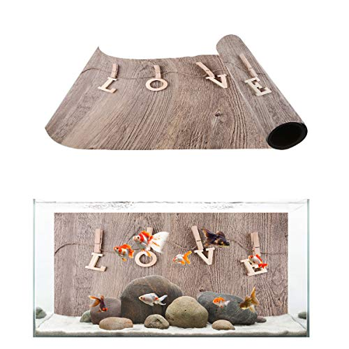 Fantasy Star Aquarium Background Wooden Clips Spelled into The Shape of Love Fish Tank Wallpaper Easy to Apply and Remove PVC Sticker Pictures Poster Background Decoration 20.4