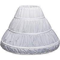 Girls Petticoat,Half Slip Petticoat 3 Hoops Lace Trim Flower Underskirt Elastic Waist Drawstring Girl Petticoat…