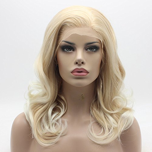 Lushy Charming Medium Length Blonde Root White Ombre Half Hand Tied Heat Resistant Heavy Density Synthetic Lace Front Wig