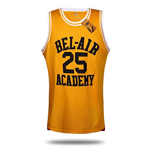 VTURE Basketball T-shirts Will Smith #25 Bel Air Academy Basketball Jerseys (T-shirts Retro Basketball)