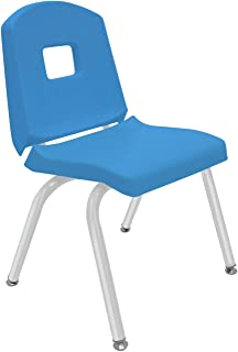 "product image for Creative Colors 1-Pack 14"" Kids Preschool Stackable Split Bucket Chair in Bright Blue with Platinum Silver Frame and Self Leveling Nickel Glide"