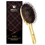 Woolsy Premium Collection Boar Bristles Mixed with Nylon Pins Hair Brush - Large Oval Cushion & Natural Bamboo Paddle - For All Hair Types - Easy Styling & Detangling