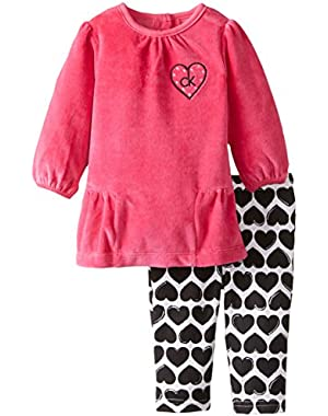 Baby Girls' Hot Pink Tunic with Printed Leggings