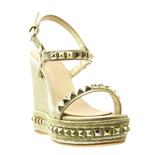 Angkorly - damen Schuhe Sandalen Mule - Plateauschuhe - Nieten - besetzt - Geflochten - String Tanga Keilabsatz high heel 13.5 CM - Gold