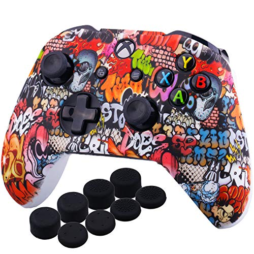 (YoRHa Printing Rubber Silicone Cover Skin Case for Xbox One S/X Controller x 1(Skull Graffiti) With PRO Thumb Grips x 8)