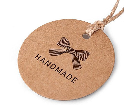 100pcs Small Round Handmade Brown Kraft Paper Tags Wedding Christmas Halloween Party Gift Card Luggage Tags Labels DIY Decoration Hang Tags Clothing T…