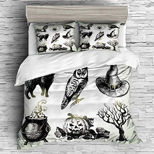3 Pieces (1 Duvet Cover 2 Pillow Shams)/All Seasons/Home Comforter Bedding Sets Duvet Cover Sets for Adult Kids/King/Vintage Halloween,Halloween Related Pictures Drawn by Hand Raven Owl Spider Black C -