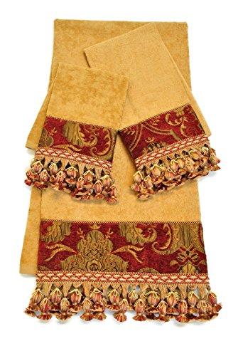Sherry Kline 3 Piece China Art Decorative Towel Set, Red