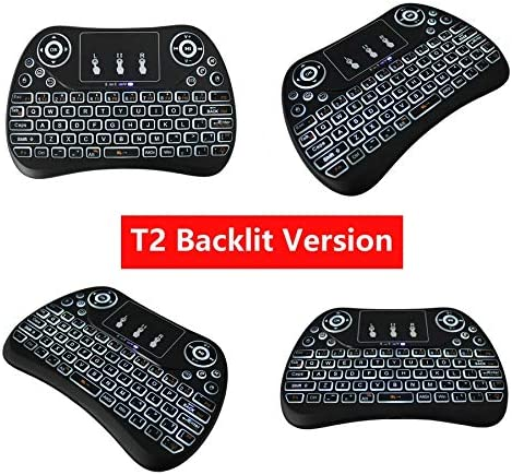 Color: T2 backlight version Calvas NEW 7 color backlit T2 Mini Wireless Keyboard 2.4ghz English Air Mouse with Touchpad Remote Control Android TV Box PK