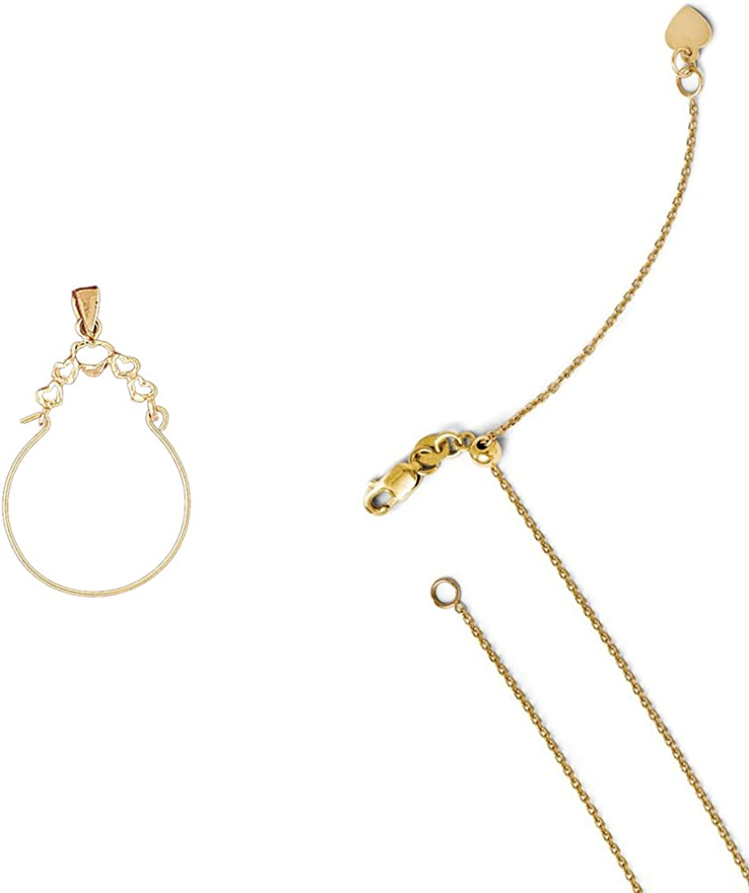 14K Yellow Gold Heart Charm Holder Pendant on an Adjustable 14K Yellow Gold Chain Necklace