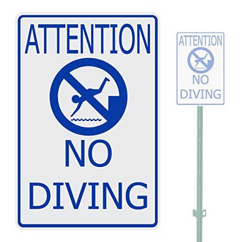 ATTENTION NO DIVING HEAVY DUTY ALUMINUM WARNING SIGN 10