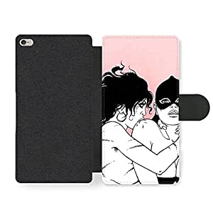 Sexy Comic Girls Illustration in Black White and Pink Funda Cuero Sintético para iPhone 6 Plus 6S Plus