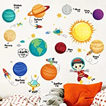 Educational Solar System Wall Decals Decor Art Peel Stick, Large Removable, Fun Planets in Space Wall Stickers-Space Exploration by IceyDecaL