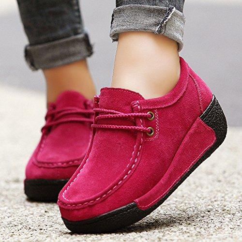 Bleu 41 Chaussures coloré En À Pour Cuir Lacets Fuxitoggo Femmes Rouge Taille Eu 8FwPF