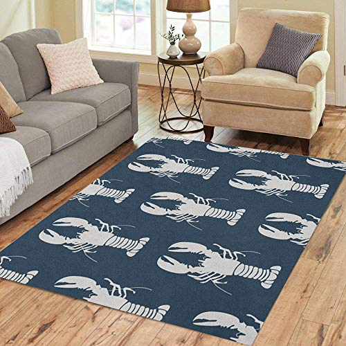 Semtomn Area Rug 2' X 3' Animal Seafood Retro Marine Lobsters Color Cooking Crab Drawing Home Decor Collection Floor Rugs Carpet for Living Room Bedroom Dining Room