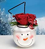 "5"" Decorative White Smiling Winter Snowman Face Round Bowl Christmas Planter"