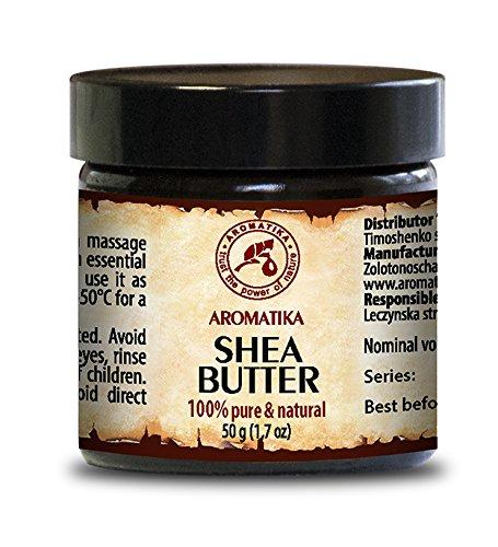 Kaltgepresstes Shea Butter - Sheabutter 100% Rein Und Natürlich - Karité Body Butter 50ml - Glastiegel - Ghana - Afrika - Körperbutter - Unraffiniert - Natürlichen Gehalt An Gesättigten - Ungesättigten Fettsäuren - Nährend - Intensive Pflege Gesicht - Körp