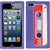 Purple Cassette Casette Tape Silicon Soft Skin Case Cover For Apple iPhone 5 5S 5SE with Free Pouch