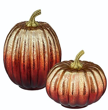 GLR Gatherings Light up Pumpkins Centerpiece Mantel Holiday Decoration for Halloween and Thanksgiving, Lg is 7.75 in H x 5.75 in W, Med 5.38 in H x 6.25 in W, Gold and Orange Glass, 1 set per order ()