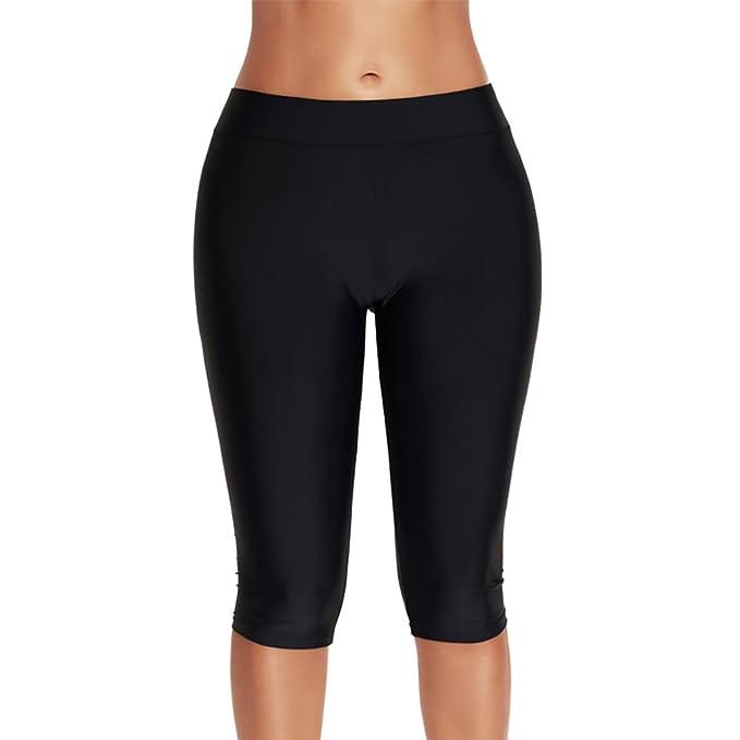 fcf83ec0de iBaste Women's Plain Swimming Leggings Tankini Bottoms Swimsuit Running  Sport Tight Pants Plus Size