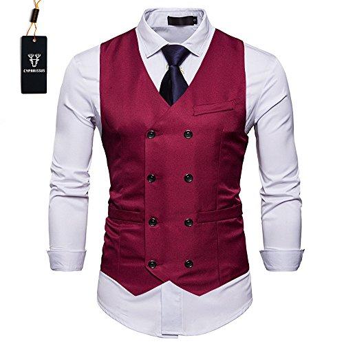 Cyparissus Mens Vest Waistcoat Men's Suit Dress Vest For Men or Tuxedo Vest (XL, Burgundy) (Men Mens Suits Vests)