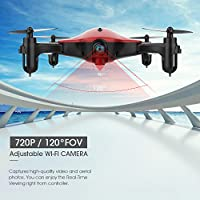 Spacekey FPV RC Drone with 720P HD Wi-Fi Camera Live Video Feed 2.4GHz 6-Axis Gyro Quadcopter for Kids & Beginners - Altitude Hold, One Key Start, Foldable Arms, One key take off/landing, Color Red from Spacekey