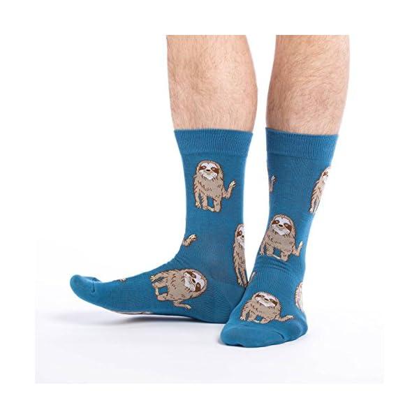 Good Luck Sock Men'S Hello Sloth Crew Socks - Blue, Shoe Size 7-12 -