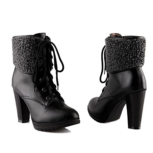 AllhqFashion Womens High-Heels Solid Round Closed Toe Soft Material Lace-Up Boots Black w3RveuSjlD