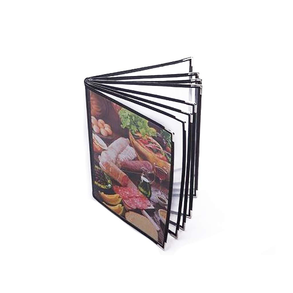 QSJY File Cabinets Document Display Folder a4 Black with 8 Panels and 16 Pockets(Leather + PVC) 24.532CM